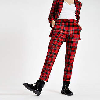River Island Womens Red check straight leg trousers