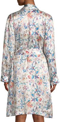 Derek Rose Brindisi Short Floral-Print Silk Robe