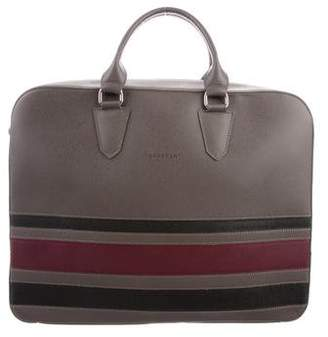 Longchamp Saffiano Leather Striped Briefcase