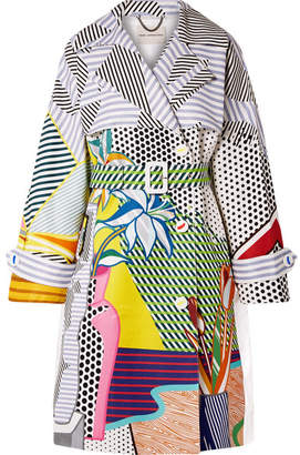 Mary Katrantzou Printed Cotton-blend Gabardine Trench Coat - Gray