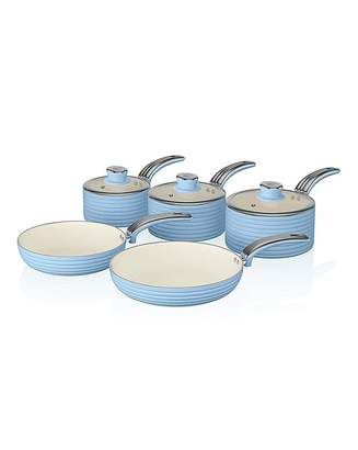 Swan Retro 5 Piece Pan Set Blue