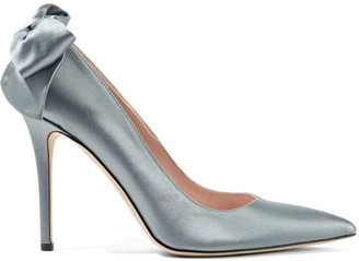 SJP By Sarah Jessica Parker - Lucille Bow-embellished Satin Pumps - Gray $395 thestylecure.com