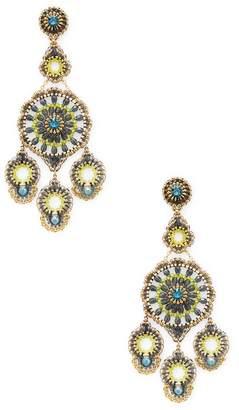 Miguel Ases Women's Open Beaded Chandelier Statement Earrings