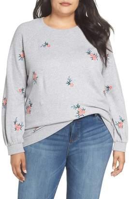 Caslon Embroidered Cotton Sweatshirt