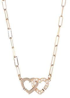 Dinh Van Double Coeurs Diamond& 18K Rose Gold Chain Necklace