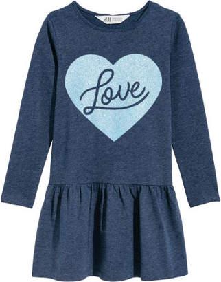 H&M Jersey Dress with Motif - Blue