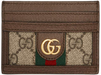 aba97d906f2 Gucci Beige and Brown Ophidia GG Card Holder