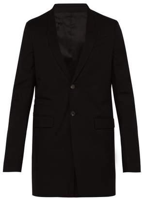 Rick Owens Longline Single Breasted Cotton Blend Blazer - Mens - Black