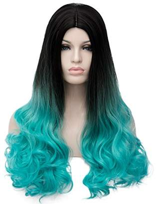 Harajuku Lovers Aicos Alacos New Style Synthetic Full Head Rainbow Color Long Curly Braiding Wigs for Women Lolita Christmas Party Plus Wig Cap