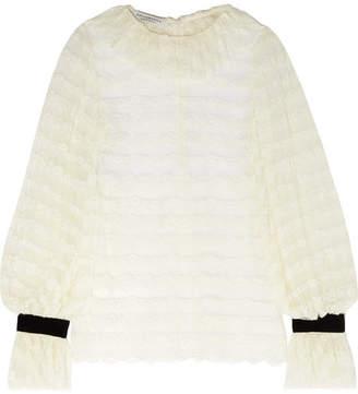 Philosophy di Lorenzo Serafini Velvet-trimmed Ruffled Lace Blouse - White