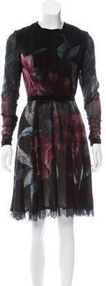 Elie Saab Printed Devoré Dress