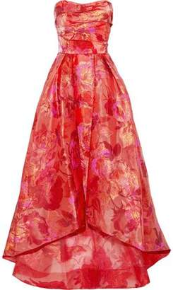Marchesa Strapless Fil Coup Organza Gown