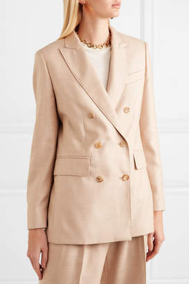 Max Mara Double-breasted Camel Hair And Silk-blend Blazer - Sand