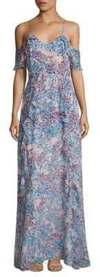 Parker Black Irene Garden Cold-Shoulder Printed Gown