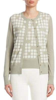 Akris Punto Polka Dot Wool Cardigan