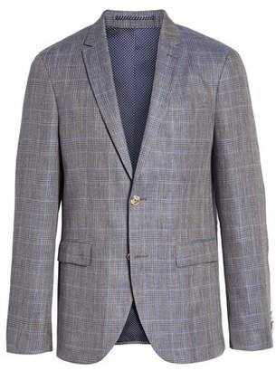 Sand Glenn Trim Fit Plaid Linen Blend Sport Coat