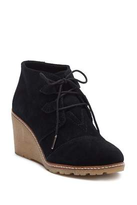 Toms Black Suede Wedge Bootie