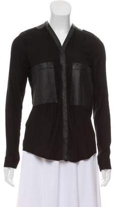 Helmut Lang Leather-Trimmed Long Sleeve Blouse