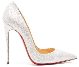 Christian Louboutin So Kate 120 Glittered Leather Pumps - Womens - White
