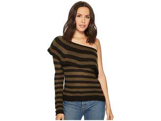 Romeo & Juliet Couture One Shoulder Ruffle and Striped Sweater Women's Sweater