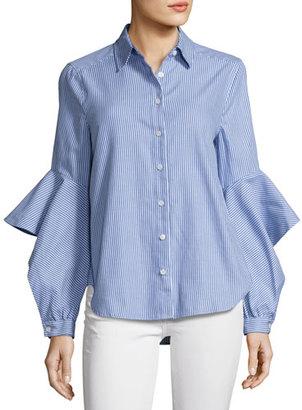 BCBGMAXAZRIA Thelma Striped Ruffle-Sleeve Shirt, Bluette $158 thestylecure.com