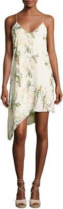 Haute Hippie The Waterfall Floral Silk Slip Dress, White/Green