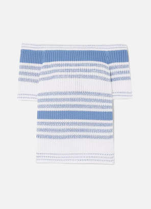 RED Valentino Maglia Off-the-shoulder Ribbed Striped Cotton Top