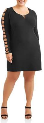Eye Candy Women's Plus Long Sleeve Ladder Bar Front Little Black Dress