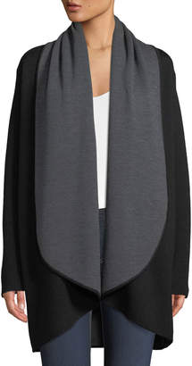 Milly Contrast Double-Face Draped Cardigan Coat
