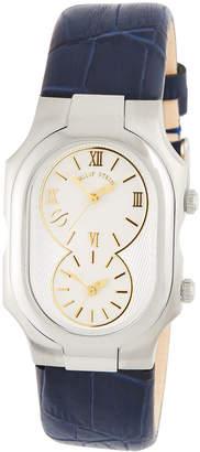 Philip Stein Teslar Large Signature Dual Time Zone Watch w/ Calfskin Strap, Navy