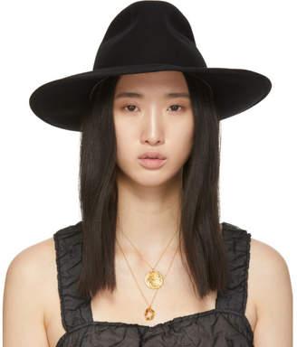 Cherevichkiotvichki Black Wool Wide Brim Hat