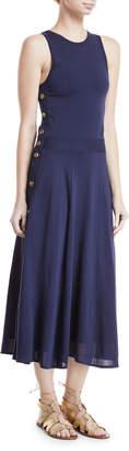Ralph Lauren Sleeveless Button-Trim Midi Dress