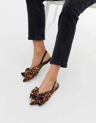 Asos Design DESIGN Lips bow slingback ballet flats in leopard