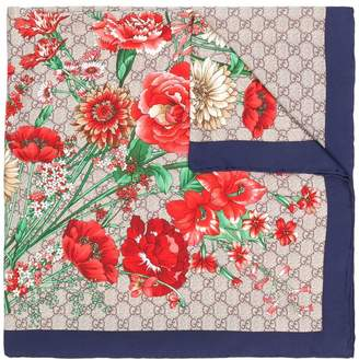 Gucci GG logo floral printed scarf