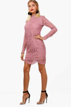 boohoo Ivy Lace Scallop Detail High Neck Bodycon Dress