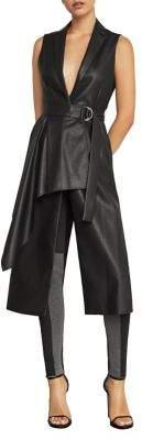 BCBGMAXAZRIA Faux-Leather Drape Front Long Vest