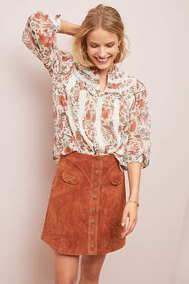 Anthropologie Button-Front Mini Skirt