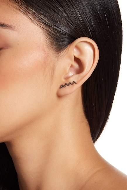 EF Collection Black Diamond Zig Zag Right Ear Cuff - 0.08 ctw