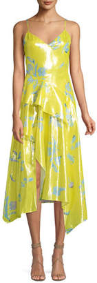 Tanya Taylor Analia Metallic Floral Midi Dress