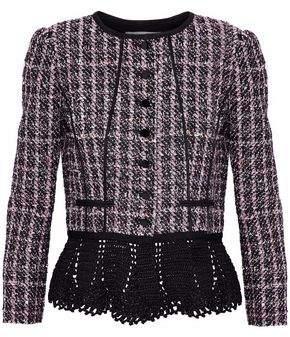Oscar de la Renta Crochet-Trimmed Sequin-Embellished Tweed Peplum Jacket