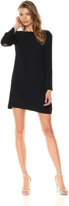 Halston Women's Long Sleeve Metallic Insert Cowl Neck Crepe Dress