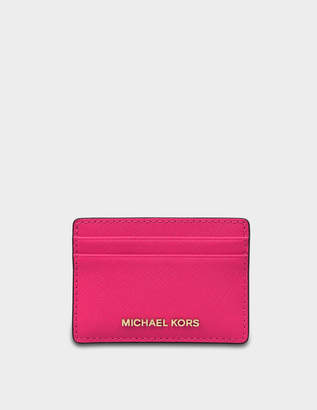 MICHAEL Michael Kors Jet Set Travel Card Holder in Ultra Pink Saffiano Leather
