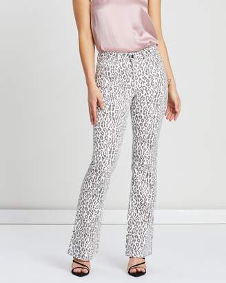 NA-KD Leopard Flared Denim Jeans