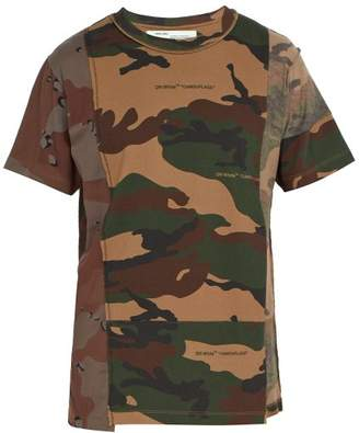 Off-White Off White Panelled Camouflage Cotton T Shirt - Mens - Khaki