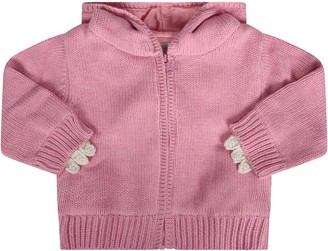 Stella McCartney Pink Babygirl Cardigan Wth White Spikes