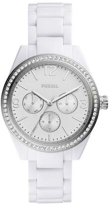 Fossil Caleigh Multifunction White Acetate Watch Jewelry