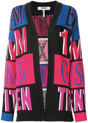 MSGM oversized intarsia knit cardigan