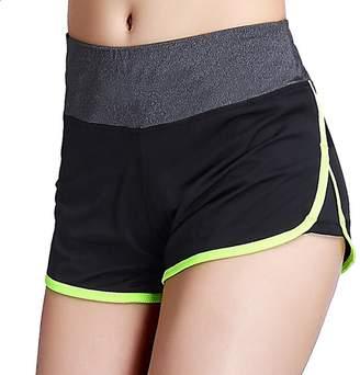 WNDSYN Women Workout Athletic Curves Hot Yoga Running Track Jogging Shorts M