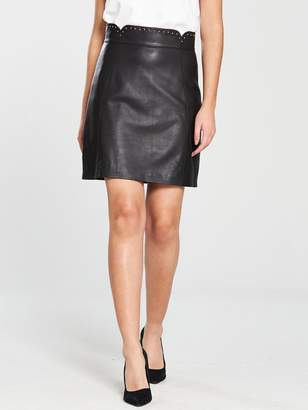 Karen Millen Pin Stud Leather Mini Skirt - Black