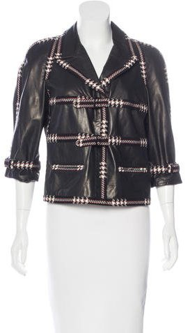 Chanel Chanel Tweed-Trimmed Leather Jacket